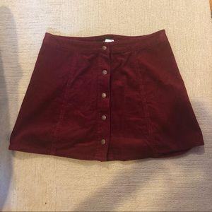 Burgundy Corduroy Button Mini Skirt - Size 30
